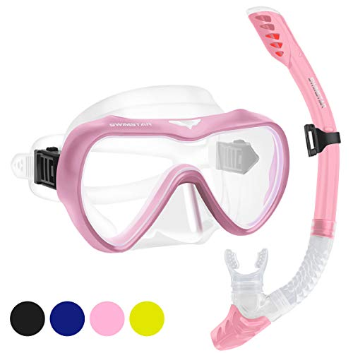 SwimStar Snorkel Set for Women and Men, Anti Fog Tempered Glass Snorkel Mask for Snorkeling, Swimming and Scuba Diving, Anti Leak Dry Top Snorkeling Gear Panoramic Silicone Goggle No Leak Pink