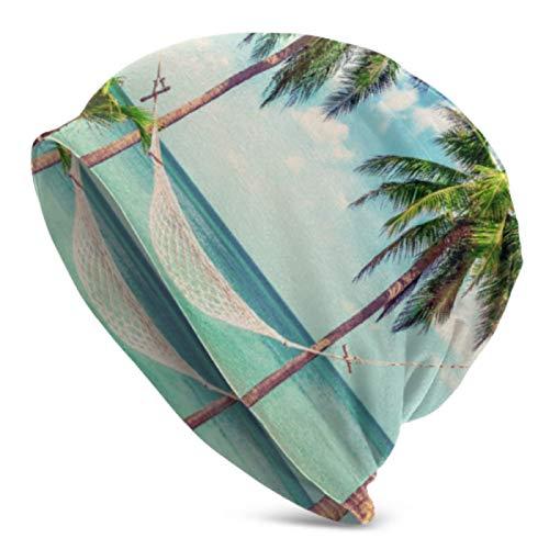 AEMAPE Beanie Hats for Men Women Beautiful Beach Hammock Between Two Palm Beanie Cap Stretchy Soft Beanie Cap