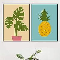 """北欧の漫画緑の植物パイナップル壁アートキャンバス絵画ポスターとプリント子供のための壁の写真部屋の装飾19.6""""x 27.5""""(50x70cm)フレームなし×2"""