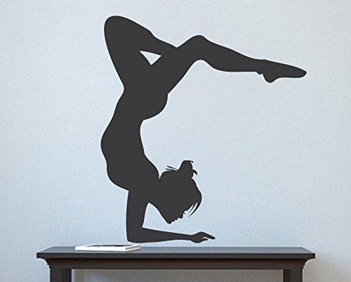 Vinilo adhesivo para pared de gimnasia para niña, diseño de bailarina de competición