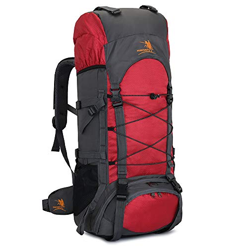 60L Internal Frame Hiking Backpack with Rain Cover,Outdoor Sport Travel Daypack for Climbing Camping Touring (Red)