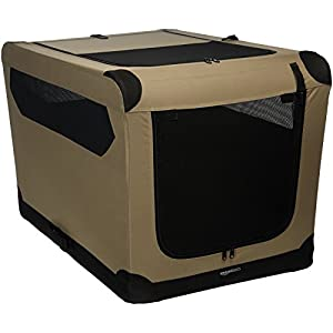 Amazon Basics Portable Folding Soft Dog Travel Crate Kennel, Large (24 x 24 x 36 Inches), Tan