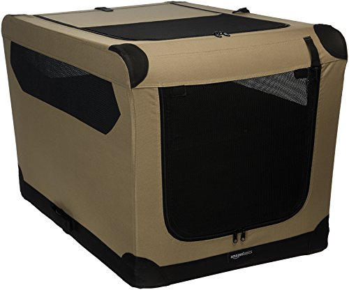 Amazon Basics Portable Folding Soft Dog Travel Crate Kennel Large 24 x 24 x 36 Inches Tan