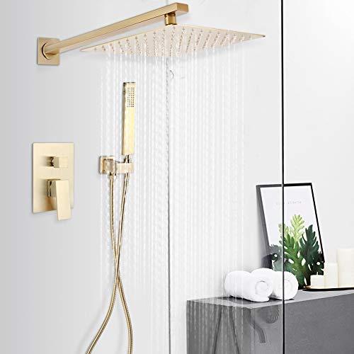 Rociador de ducha con cabezal de ducha tipo lluvia en el baño, G1/2in 25cm Conjunto combinado de ducha tipo lluvia con montaje en la pared de cobre dorado cepillado para baño Hogar/hotel