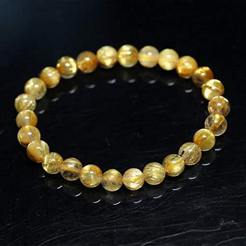 LKBEADS 1 Strands Natural Titanium Gold Hair Rutile Quartz Cat's Eye Stretch Bracelet Round Beads 6.5mm 04280 Code-HIGH-30139