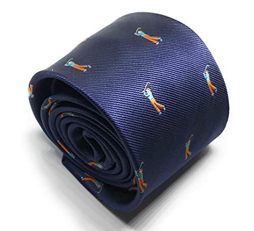 Gentleman: Hochwertige blaue Krawatte mit Golfspielern - Golfer - Golf - 3