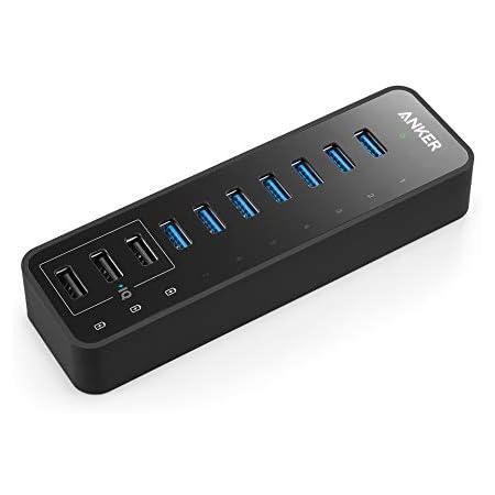 Hub USB 10 Puertos, Anker, con 7 Puertos de Hub USB 3.0, 60W, 3 Puertos de Carga rápida PowerIQ para iPhone, iPad, Samsung, Motorola, HTC y más