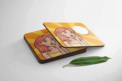 Bonamaison 100% MDF Pop Art Estilo Posavasos, Juego de 4, Absorbente Premium, Talla: 9x9 Cm (Cada Uno), Evita Que los Muebles se Ensucien, Derramen, Rayen - Diseñado y Fabricado en Turquía