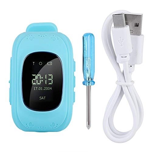 Kinder SmartWatch, multifunctioneel touchscreen-horloge voor kinderen, met LBS-tracker telefoonhorloge, 0,96 inch, voor meisjes, jongens, kinderen, cadeau (blauw)