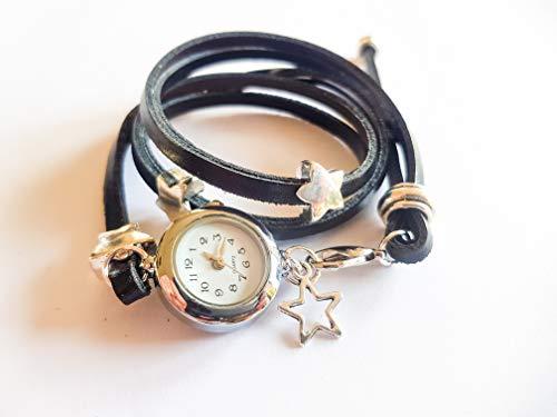 Armbanduhr als Wickeluhr, Leder mit Charms Sterne