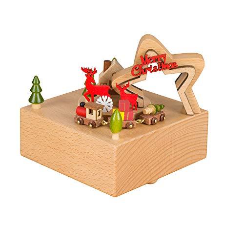 kgjsdf Holzspieluhr Uhrwerk Laufwerk Buche Weihnachten Spieluhr Schloß Spieluhr Spieluhr Weihnachtsbaum Spieluhr Basteln für Geburtstag Hochzeit, Stern, 4.3 x 4.3 x 4.7 inch