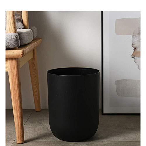 SHAOXI Trash/Mülleimer Mülleimer, Abfalleimer, Schlafzimmer Küche Mülleimer, Uncovered Trash Can, Küche, Wohnzimmer, Badezimmer mit Creative-Trash Can, Schwarz Trash Can Papierkorb (Color : Black)