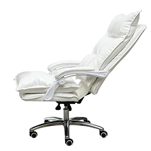 JIEER-C Camere tweepersoonsbed verstelbare zithoogte 67-78 cm PU bekleding leer bureaustoel hoge rugleuning zitting Larga Tilt functie lager gewicht 150 kg (kleur: geel) Wit