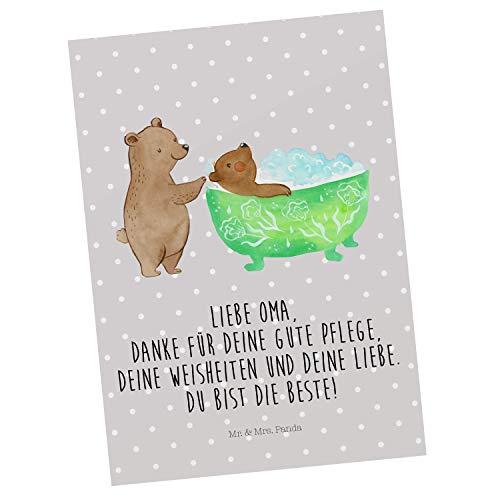 Mr. & Mrs. Panda Karte, Grußkarte, Postkarte Oma badet mit Spruch - Farbe Grau Pastell