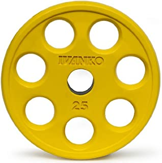 Ivanko Colored Rubber Encased EZ-Lift Yellow Olympic Plates With Holes - 25 lb pair for use on Olympic bars