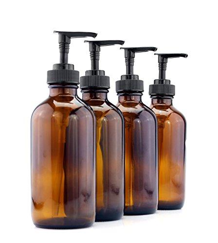 Cornucopia Brands 8-Ounce Amber Glass Pump Bottles (4-Pack); Empty Boston Round Bottles w/Black Plastic Lotion Pumps