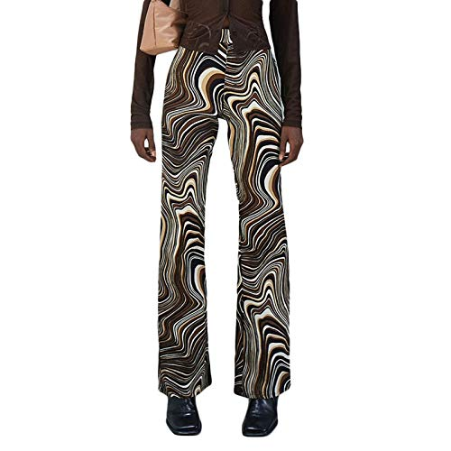 Madger Mujeres Tie Dye Print Pantalones Y2k Rectos Pantalones De Pierna Ancha Ripple Vintage Boho Flare Pantalones Joggers 90s Streetwear