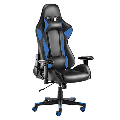 Gaming Chair Ergonomic Racing Style Computer Desk Chair Executive Office Chair High Back Swivel Task Chair with Headrest and Lumbar Pillow, Blue