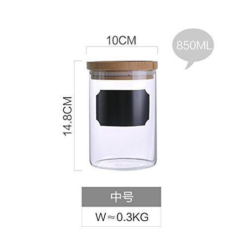 Creative high boro nastro di silicio con vetro lavagna sealing tank,[vaso di stoccaggio] Vaso candy jar Saliera Zuccheriera Barattolo di spezie può essere nome scritto a mano-B