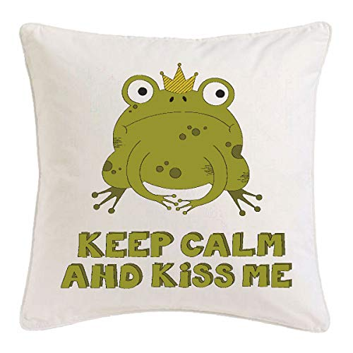 Bandenmarkt kussensloop 40x40cm KEEP CALM AND KISS ME - JungGESELLENAFSCHIED - FUN SHIRT - PARTY - STEMING van microvezel in wit