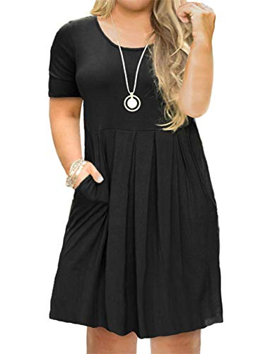 Tralilbee Women's Plus Size Short Sleeve Pleated Loose Swing Casual Dress with Pockets Knee Length Black 2XL