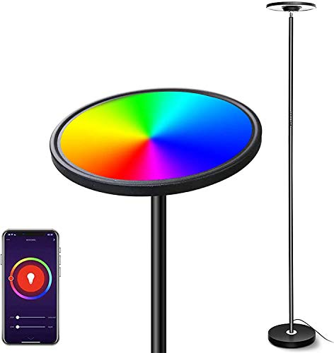Lampara de Pie LED Regulable, Bomcosy WiFi Inteligente Luz de Pie Salon Multicolor, Táctil/Vocal Funciona con Smartphone Alexa Google Assistant, Lámpara de pie para sala de estar, oficina, dormitorio