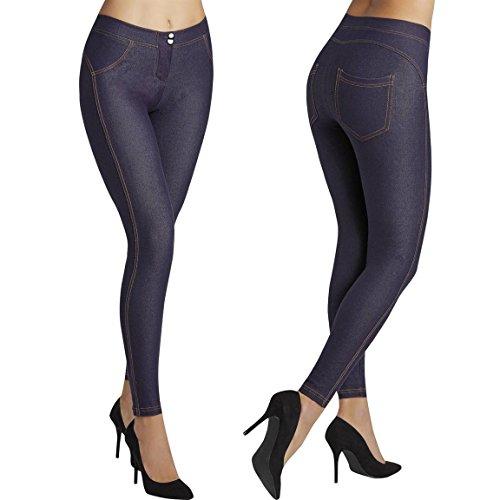 YSABEL MORA - Legging Jeans Push UP Mujer Color: Negro Talla: Large
