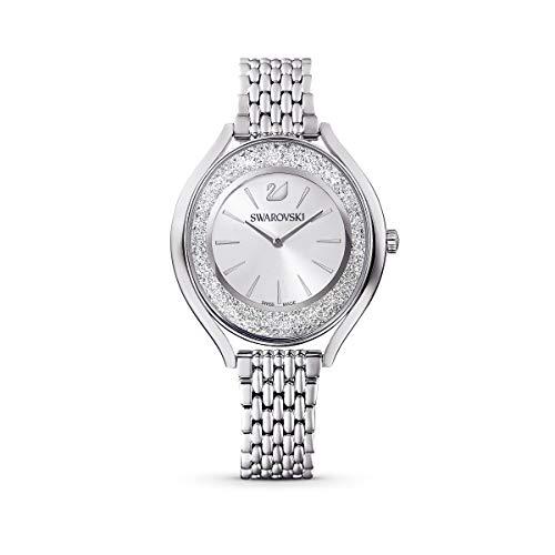 Swarovski Reloj Crystalline Aura, brazalete de metal, tono plateado, acero inoxidable
