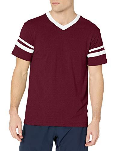Augusta Sportswear Men's Sleeve Stripe Jersey, MAROON/WHITE, X-Large