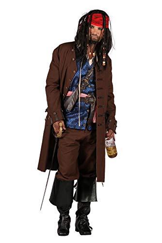 T2589-9900-S - Disfraz de capitán pirata para hombre, color marrón, talla S