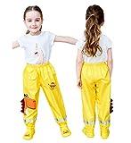 Coralup, pantaloni impermeabili o poncho con cappuccio per bambini, ideali nelle giornate di pioggia, Giallo-dino, 4-5 Anni
