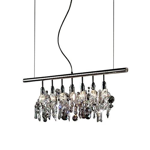 Cellula Pendelleuchte 100cm, transparent handgeschliffen LxBxH 100x3x40cm 7 Lampen Gestell Aluminium