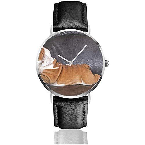 Bulldog Inglés Cachorro Relajándose En Animales Negros Wildlife Dog Quz Watch Relojes con Correa de Cuero de Acero Inoxidable