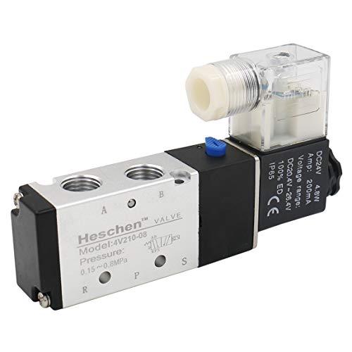 Heschen Electroválvula neumática eléctrica 4V210-08 DC 24V PT 1/4 5 vías 2 posiciones