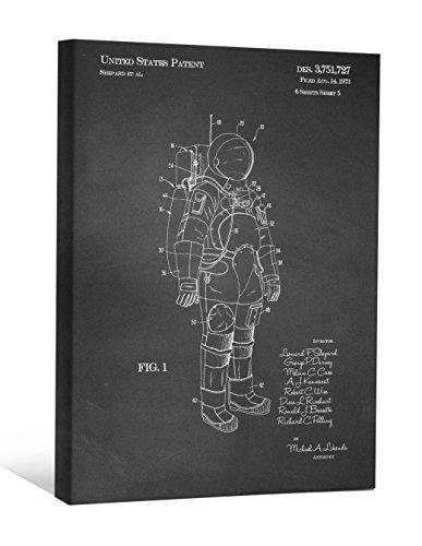 "JP London SCNVJSC30 Spacewalk Moon Landing Alien NASA Apollo Suit 2"" Thick Vintage Chalkboard Gallery Wrap Canvas Patent Art, 16"" x 12"", Black/White"