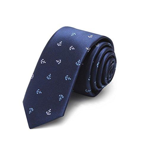 Corbata nautica estrecho diseño clásico 100% seda corbata hombres partido de todos partido negocios noche boda novio en caja de regalo