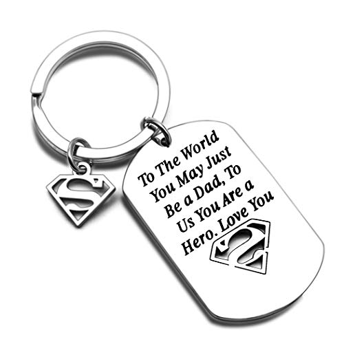 Father's Day Gifts for Dad Keychain Birthday for Daddy Papa Stepdad from Kids Son Daughter In Law Valentine's Day Christmas Present To The World You May Just Be a Dad Keyring
