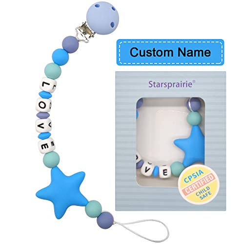 Customized Pacifier Clip Baby Teething Toys Personalized Name Pacifier Clip BPA Free Silicone Beads Binky Holder for Boy Girl Shower Gift (Blue)