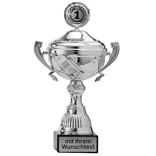 Henkelpokal Silber mit Wunschgravur und Wunsch-Sportemblem auf Deckel - Größe: 25cm | der Hingucker bei jeder Siegerehrung für Jede Sportart Pokal S767