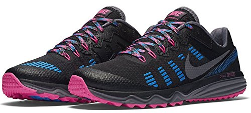 Nike Wmns Dual Fusion Trail 2, Scarpe da Running Donna, Nero Grigio Scuro Rosa Blu (Drk Grey Pnk Blst Pht Bl), 43/44 EU