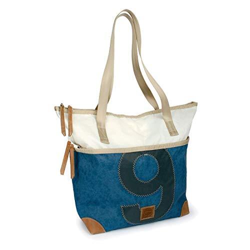 360° Deern Henkeltasche Segeltuch, große Recycling Shopper Handtasche Damen, blau weiß, Zahl grau, Schultertasche Tragetasche Strandtasche Hobo Bag