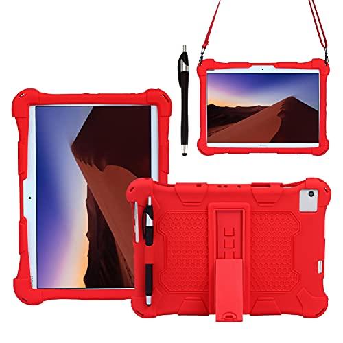 AKNICI Funda Antichoque para TECLAST P20HD Tablet 10.1 Pulgadas/Blackview Tab8 10.1/TECLAST M40 10.1/Blackview Tab 8E 10.1/YESTEL T5 10/AOYODKG A39 10.1, Correa de Hombro y Lápiz Táctil - Rojo
