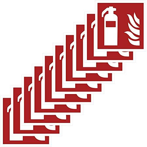 10 Feuerlöscher Aufkleber 10x10 cm Aufkleber Feuerlöscher vorgestanzt mit Hochglanz-Lack, selbstklebend, Feuerlöscher, Sicherheitskennzeichen Zubehör Warnzeichen Brandschutzzeichen Aufkleber