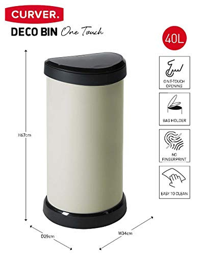 Curver Metal Effect Plastic One Touch Deco Bin, Ivory, 40 Litre