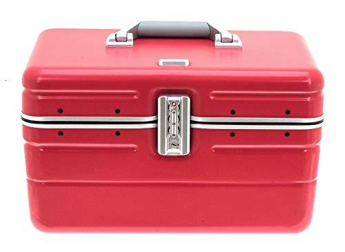Beauty Case Hartschale Kosmetikkoffer Make Up Case Box mit TSA- Schloss Korallfarben matt inkl. Trendige Kosmetiktasche