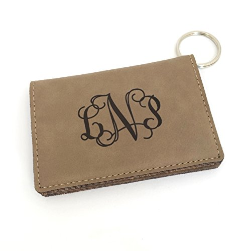Monogram Keychain Wallet ID Holder Faux Leather Personalized (Beige)