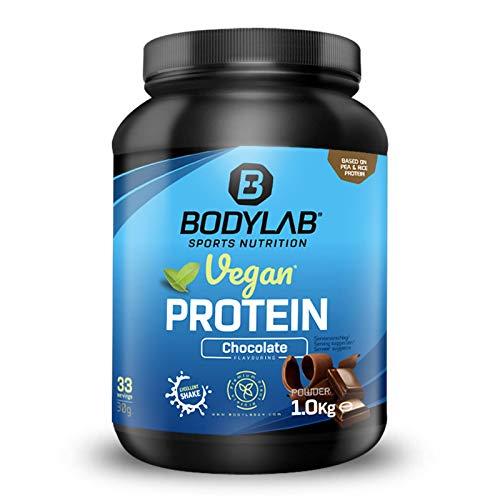 Bodylab24 Vegan Protein 1000g | Veganes Protein-Pulver mit 79% Eiweiß plus Aminosäuren | Rein pflanzlicher Eiweiß-Shake mit Erbsen- und Reisprotein | Schokolade