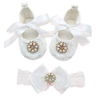 Glamulice Baby Girl Infant Satin Christening Baptism Lace Shoes Dance Ballerina Headband Set (12M / 12-16 Months, Light Ivory White Shoes & Headband)