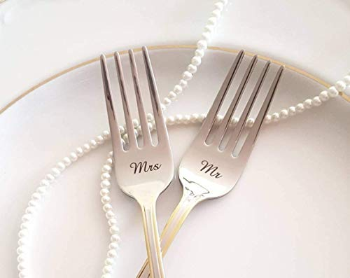 set of 2 with fork handle and face engraving options Wedding Fork Prongs Tines Personalized Engraved Stainless Steel