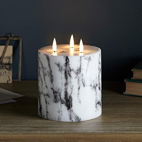 Lights4fun 3 Wick TruGlow Large Battery LED Flameless Pillar Candle Marble Effect Real Wax Timer 12cm